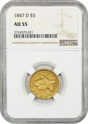 1847-D $5 NGC AU55 - Popular Branch Mint Gold - Liberty Half Eagle - Gold Coin