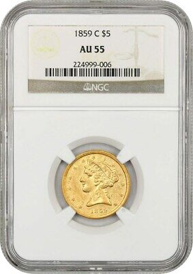 1859-C $5 NGC AU55 - Popular Charlotte Issue - Liberty Half Eagle - Gold Coin