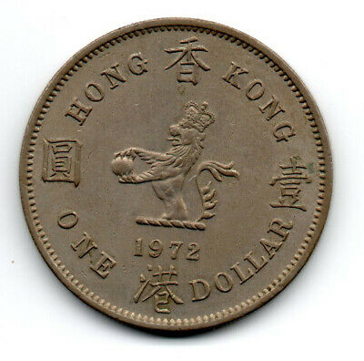 Hong Kong 1972,  Queen Elizabeth the Second, Standing Crowned Lion, One Dollar