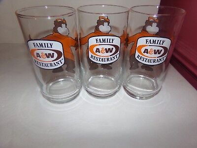 Set Of Three Vintage 1970'S A & W Family Restaurant Glasses! 5 3/4 Tall So Cute
