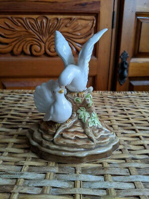 2 Doves On A Tree Branch vintage Ceramic Figurine Made in Japan  Hand painted