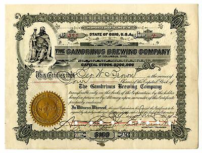 OH. Gambrinus Brewing Co., 1912 4 Shares I/C Capital Stock Certificate, Fine