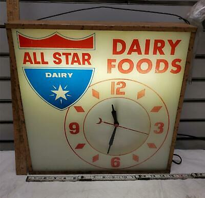 Vintage All Star Dairy Clock Sign Advertisement Light up Antique General Store!