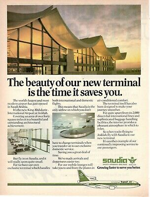 1978 Original Advertising Saudi Arabian Airlines Saudia Airport