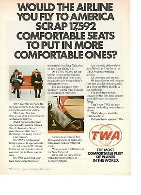 1966 Original Advertising' Twa American Airlines Company Aerial Seat Comfort
