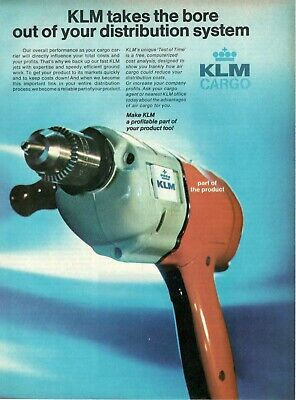 1971 Advertising' Vintage Klm Holland Royal Dutch Airlines Cargo Drill