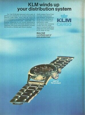 1971 Advertising' Vintage Klm Holland Royal Dutch Airlines Cargo Watch