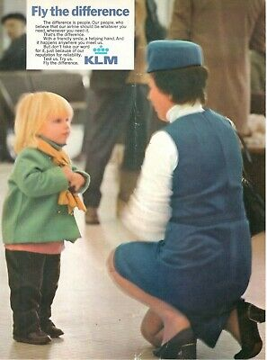 1972 Advertising' Vintage Klm Holland Royal Dutch Airlines Fly the Difference