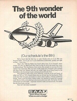 1974 Original Advertising' Saa South African Airways The 9th Wonder