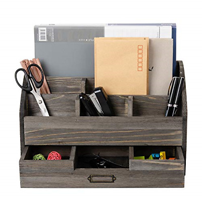 Distressed Rustic Wooden Office Desk Organizer 5 Compartment with 2 Drawer Desk