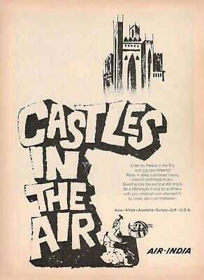 1964 Original Advertising' American Air India Company Aerial Castles IN The Air