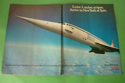 1982 Original Advertising' British Airways Airlines Concorde London New York 2p