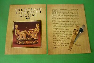 1980 Original Advertising' Advertising Rolex Watch Cellini 2 Pages