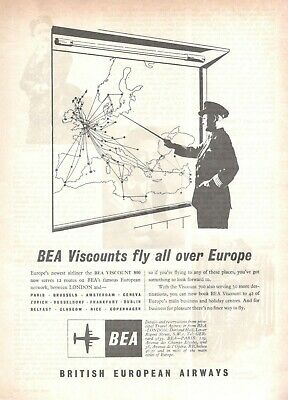 1957 Original Advertising 'Bea British European Airways Fly All over Europe