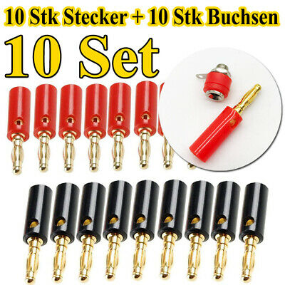 20pcs 4mm Vergoldete High End Banana Stecker Bananenstecker Lautsprecherkabel 72