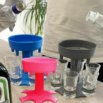 6 Shot Glass Dispenser With Stand Holder Drink Game Liquor Glasses Party Wedding