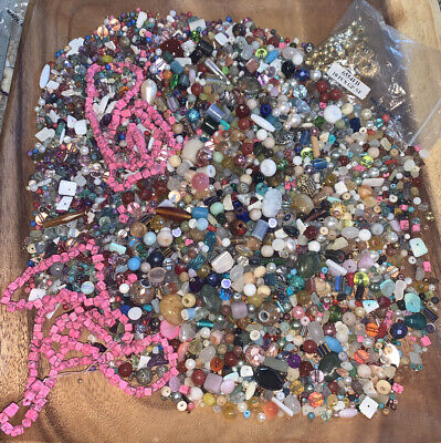 Assorted Lot of Mixed Beads Acrylic Glass Gemstones Making Supplies 2lb