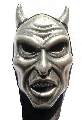 Silver Devil Halloween Mask With Hood Venetian Mask Male Masquerade Ball