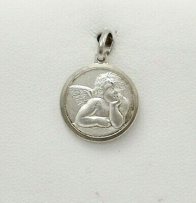 Small Die Struck Vintage Style Solid Sterling Silver 925 Saint Raphael Guardian Cherub Angel charm pendant Made in Italy