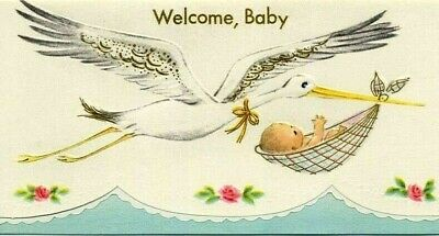 New old stock Vintage 1940s 1950s Stork Baby Birth Announcements