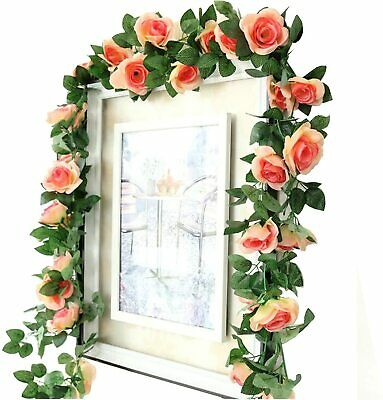 Details about  /8.2Ft Artificia Garland Vine Ivy Fake Rose FLowers Plants Wedding Party Decor