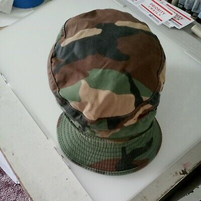Vintage 80s Military Issue Fitted Flap Hat Cap Woodland Camouflage size 7