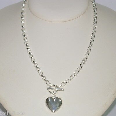"925 Sterling Silver 5mm ROLO Chain Toggle NECKLACE with Puffed HEART 16.5"" 42cm"