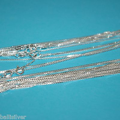 "12 pieces 925 Sterling Silver 16"" 40cm Italian BOX 015 CHAIN Necklaces Lot"