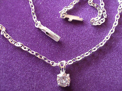925 STERLING SILVER, DIAMONITE ANKLET ON S.S/25cm CHAIN No5H