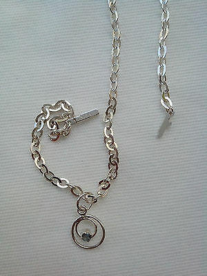 925 STERLING SILVER, SAPPHIRE ANKLET ON S.S/25cm CHAIN No7H