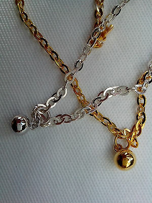 925 STERLING SILVER or 22ct GOLD CLAD, Please choose BALL ANKLET 25cm CHAIN No7H