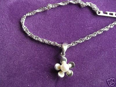 925 Sterling Silver Rope Chain Anklet With Cultured Pearl