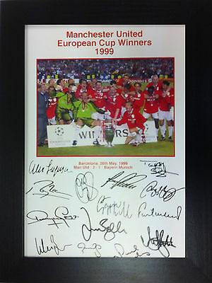 Manchester United Euro Cup Winners 99 A4 signed Framed