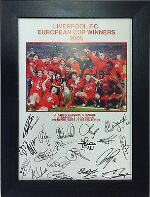 Liverpool Euro Cup Winners 2005 A4 pre-signed Framed
