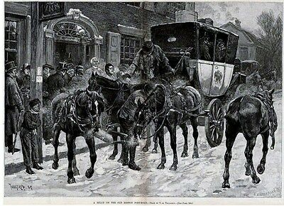 Horses Carriage Relay On Boston Post Road Antique Print
