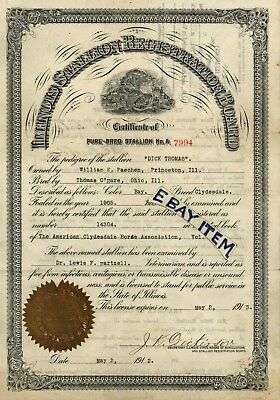 1909 American Clydesdale Assoc Horse License Pure Bred