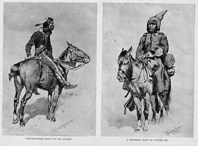 Cheyenne Indian Scouts By Frederic Remington Horses Saddle 1891 Harper's Weekly