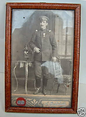 1907 BULGARIAN SEARGEANT MILITARY REAL PHOTO w/FRAME