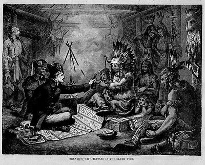 Modoc Indians Smoking Pipe, Antique Print Arrows Lodge