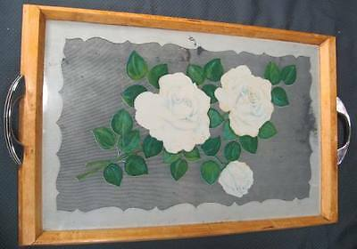 Depression Era Glass & Maple Wood Rose Tea Service Tray