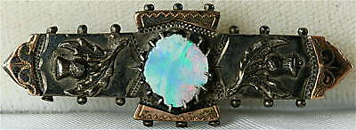 Victorian Antique Sterling Silver 14K Opal Thistle Pin