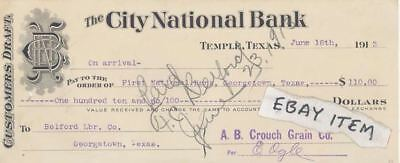 1913 Temple Texas City National Bank Check Ogle Crouch