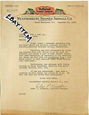 1929 Weatherbest Stain Shingle NORTH TONAWANDA NEW YORK Kinsella Hofheins Perrin