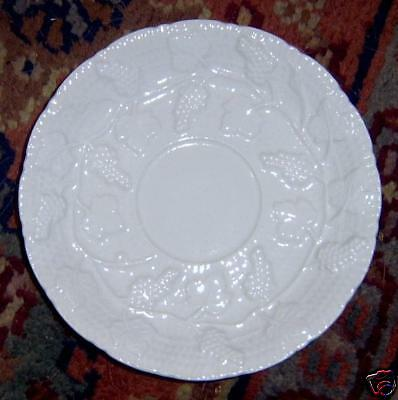 Italy White Embossed Grapes Grapevine Saucer