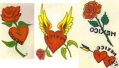 Mexico Hearts and Roses Temporary Tattoos LOT NEW