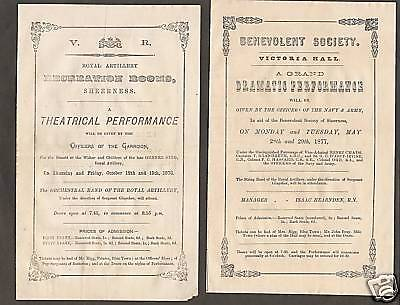 1876-77- 4 Royal Artillery Sheerness Theatre Programmes