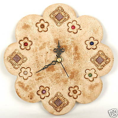 "Designer FLOWER WALL CLOCK  Home decor, Hand Made of Ceramic & Stone 7"" / 17cm"