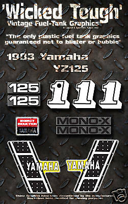 Yamaha 1983 Yz125 Wicked Tough Decal Graphic Kit