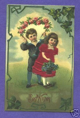 S2275  Applied Silk postcard, Boy and Girl with Flowers