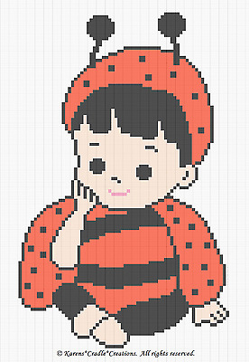 Crochet Patterns- BABY GIRL LADYBUG Afghan Pattern